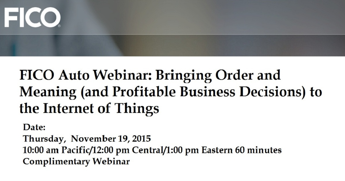 Bringing Order and Meaning (and Profitable Business Decisions) to the Internet of Things