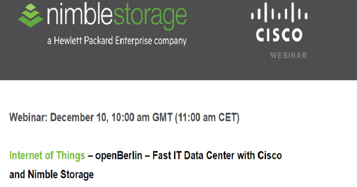 Internet of Things – openBerlin – Fast IT Data Center with Cisco and Nimble Storage