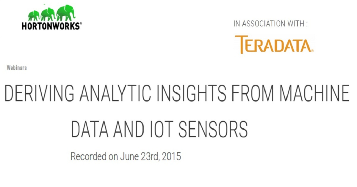 Deriving Analytic Insights from Machine Data and IoT Sensors