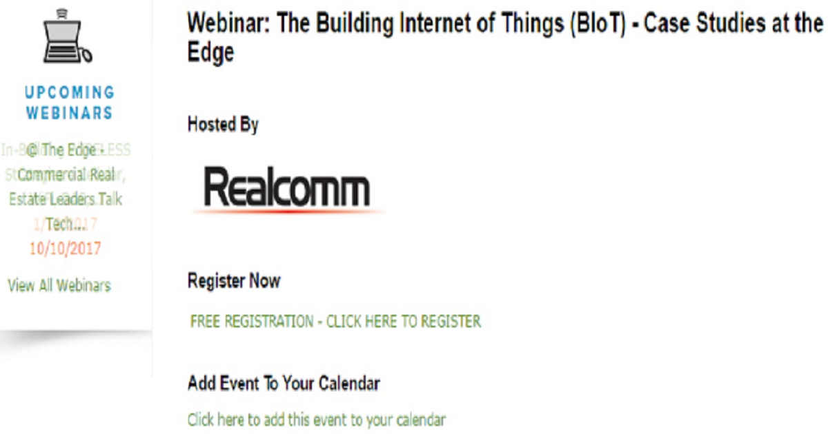 Webinar: The Building Internet of Things (BIoT) - Case Studies at the Edge