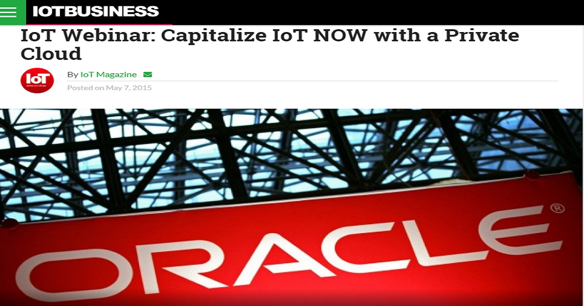 Capitalize IoT NOW with a Private Cloud