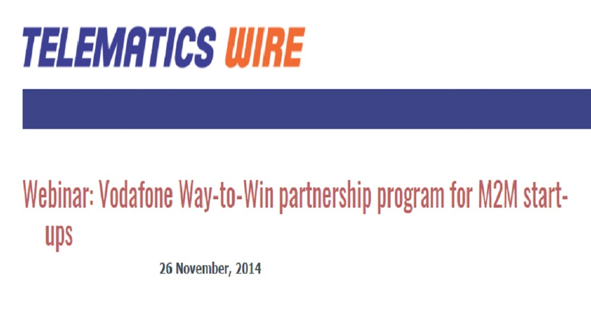Vodafone Way-to-Win partnership program for M2M start-ups