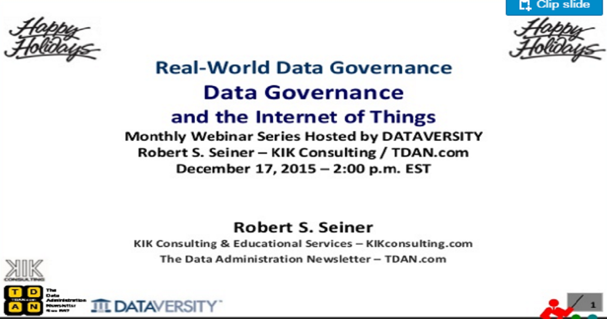 Dec 17 RWDG Webinar: Data Governance and the Internet of Things