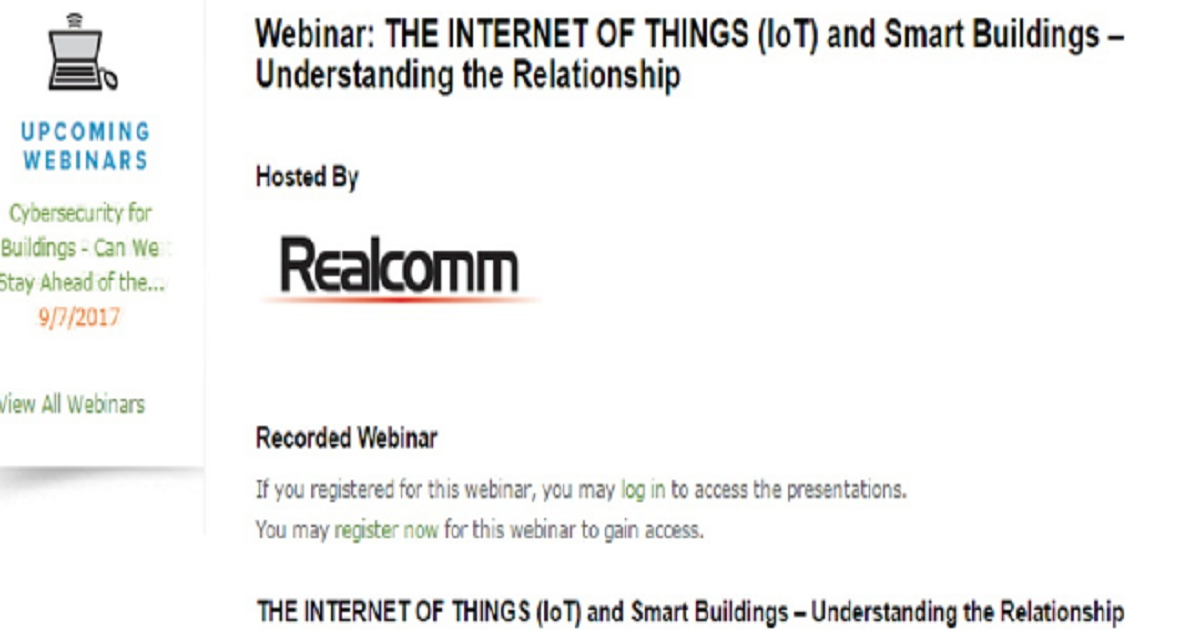 Webinar: THE INTERNET OF THINGS (IoT) and Smart Buildings – Understanding the Relationship