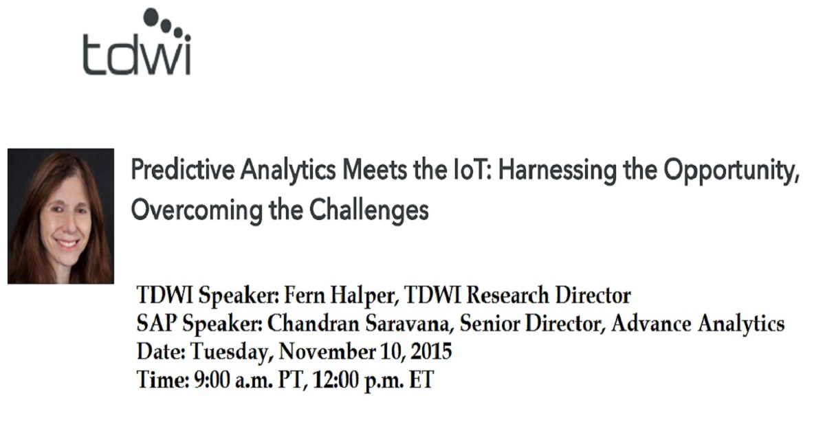 Predictive Analytics Meets the IoT: Harnessing the Opportunity, Overcoming the Challenges