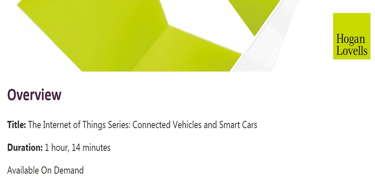 The Internet of Things Series: Connected Vehicles and Smart Cars