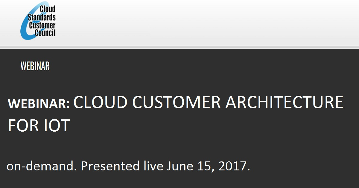 Webinar: Cloud Customer Architecture for IoT