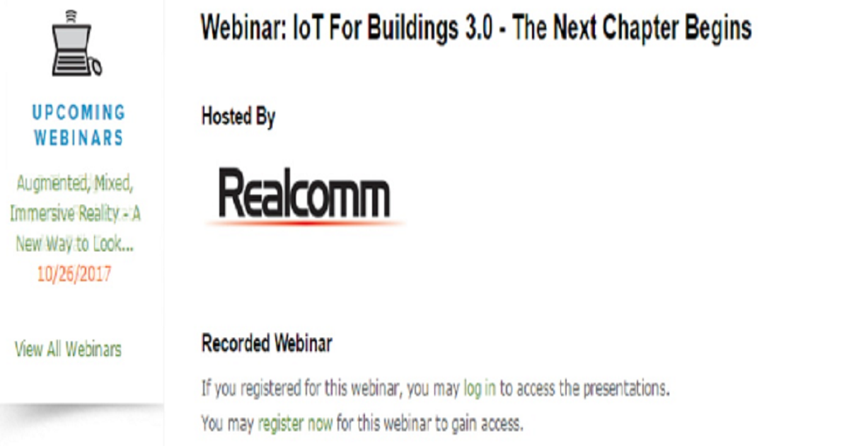 Webinar: IoT For Buildings 3.0 - The Next Chapter Begins