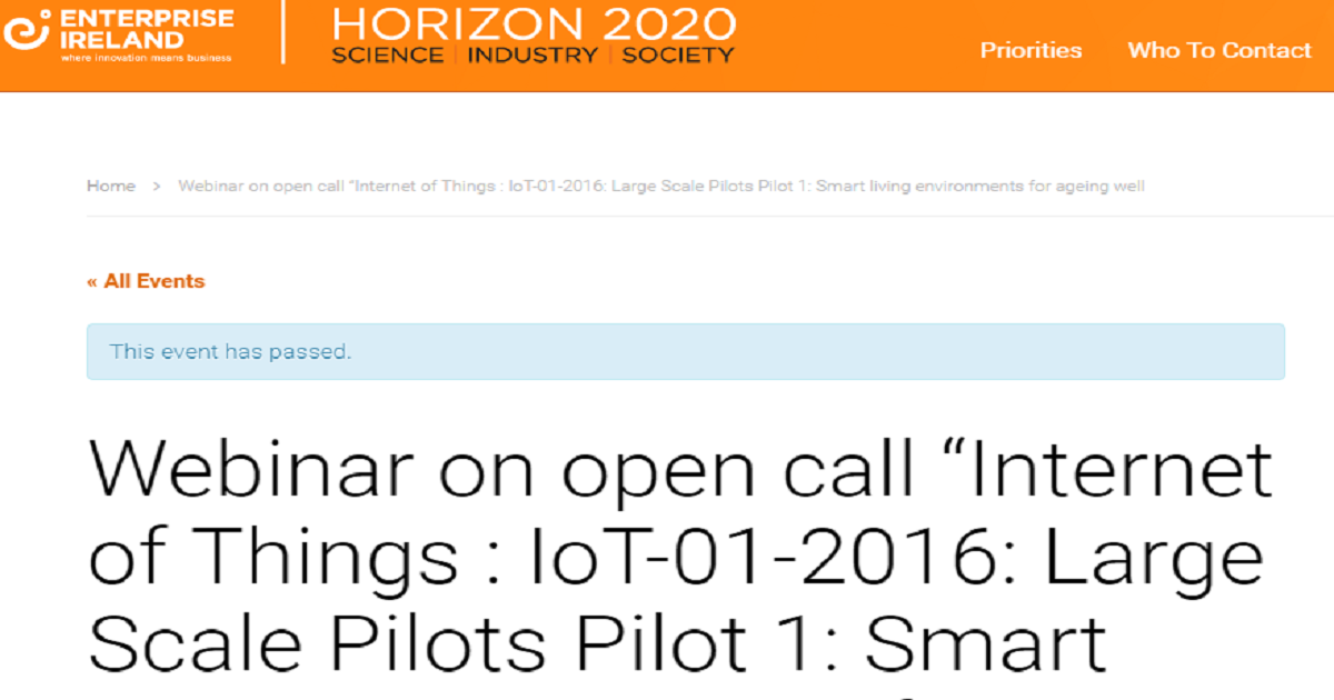 Internet of Things : IoT-01-2016: Large Scale Pilots Pilot 1: Smart living environments for ageing well