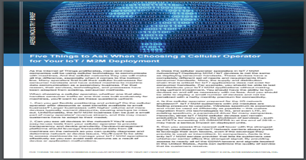 Five Things to Ask When Choosing a Cellular Operator for Your IoT or M2M Deployment
